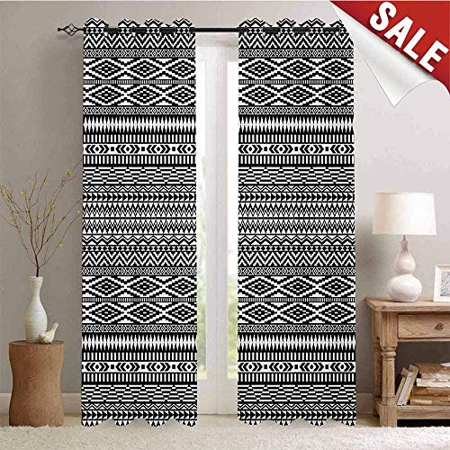 Afghan Window Gromets Curtain Set Drapes for Babys Room, Traditional Monochrome Herringbone Zigzag Stripes and Rhombuses Tribal Design Party Darkening Curtains, Black and White, W84 x L84 Inches ()