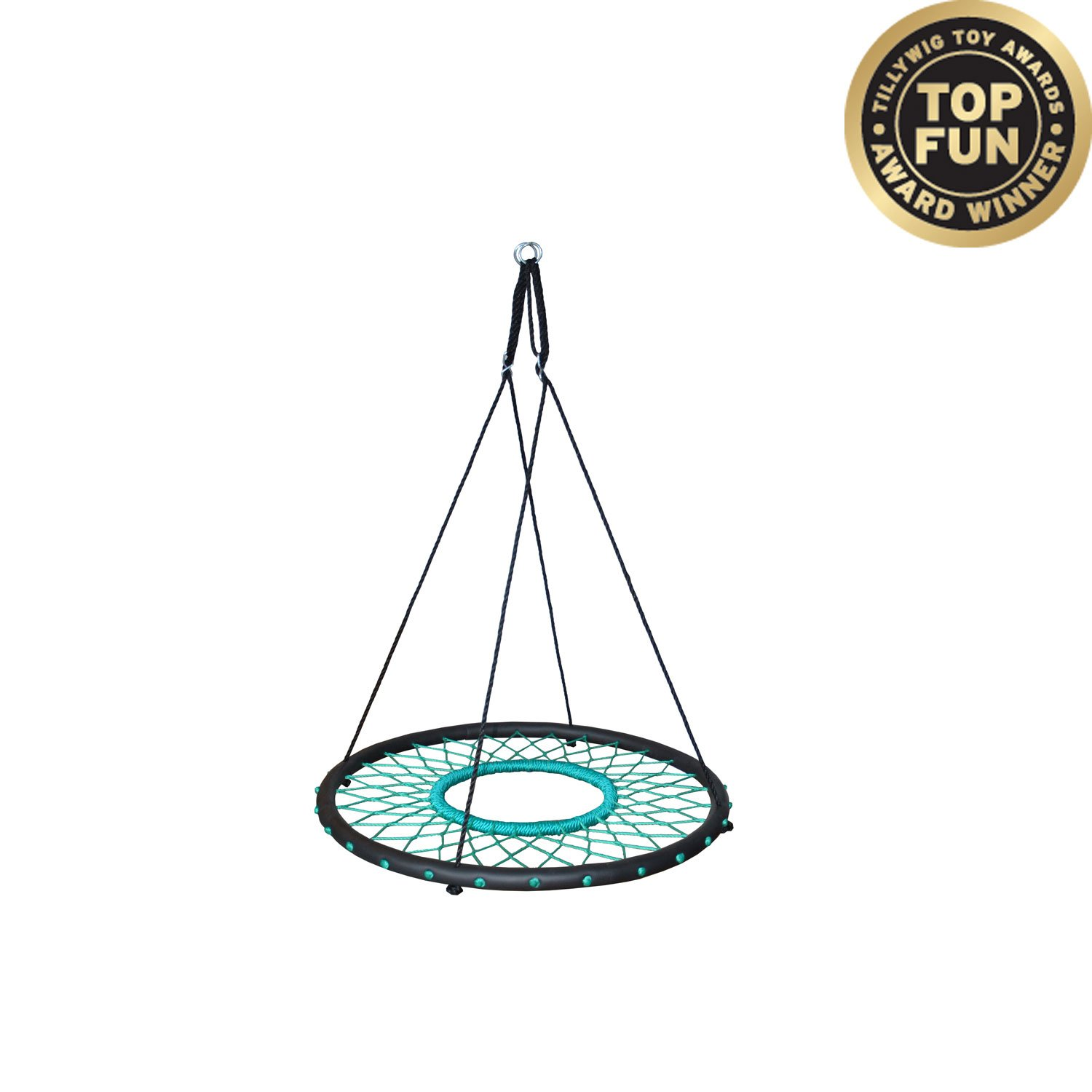 """Tarzan Tire 40"""" Spider Web Swing, Green – Tree Swing, Redesigned Tire Swing, Extra Safe and Durable, Swing with Friends, Easy Install for Swing Set or Tree"""