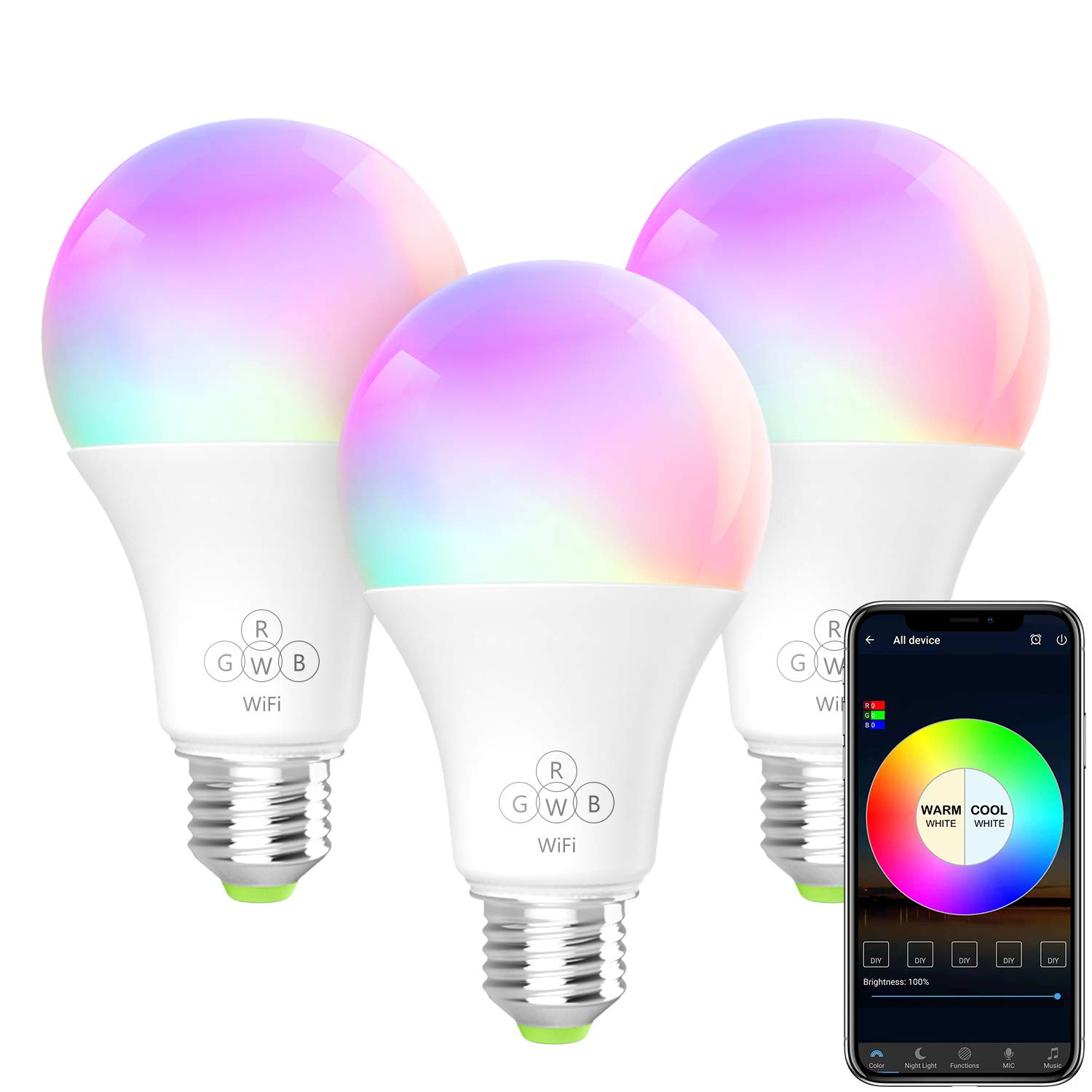 BERENNIS Smart Light Bulb, A19 E26 RGBW Wi-Fi LED Bulb [6.5W 500LM] Dimmable Multicolored Lights, No Hub Required, Works with Amazon Alexa and Google Home (3 Pack)
