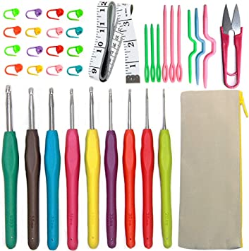 11pcs poign/ée souple en aluminium Crochets Kit Fils Aiguilles /à tricoter Outils /à coudre Poign/ée ergonomique Set avec sac de rangement