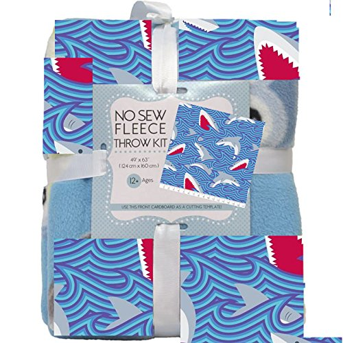 Sharks No-Sew Throw Blanket Fleece Fabric Kit by David Textiles