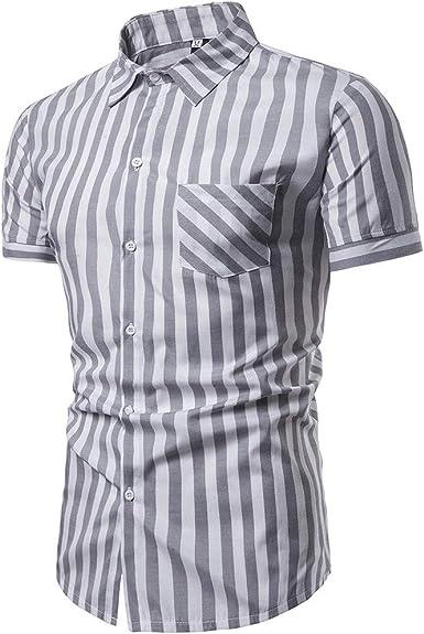 Sylar Camisa De Manga Corta para Hombre 2019, Moda Simple Casual Ajuste Delgado Tops De Verano BotóN De Raya Impreso Camisa, para la Playa, Fiestas, Verano y Vacaciones: Amazon.es: Ropa y accesorios