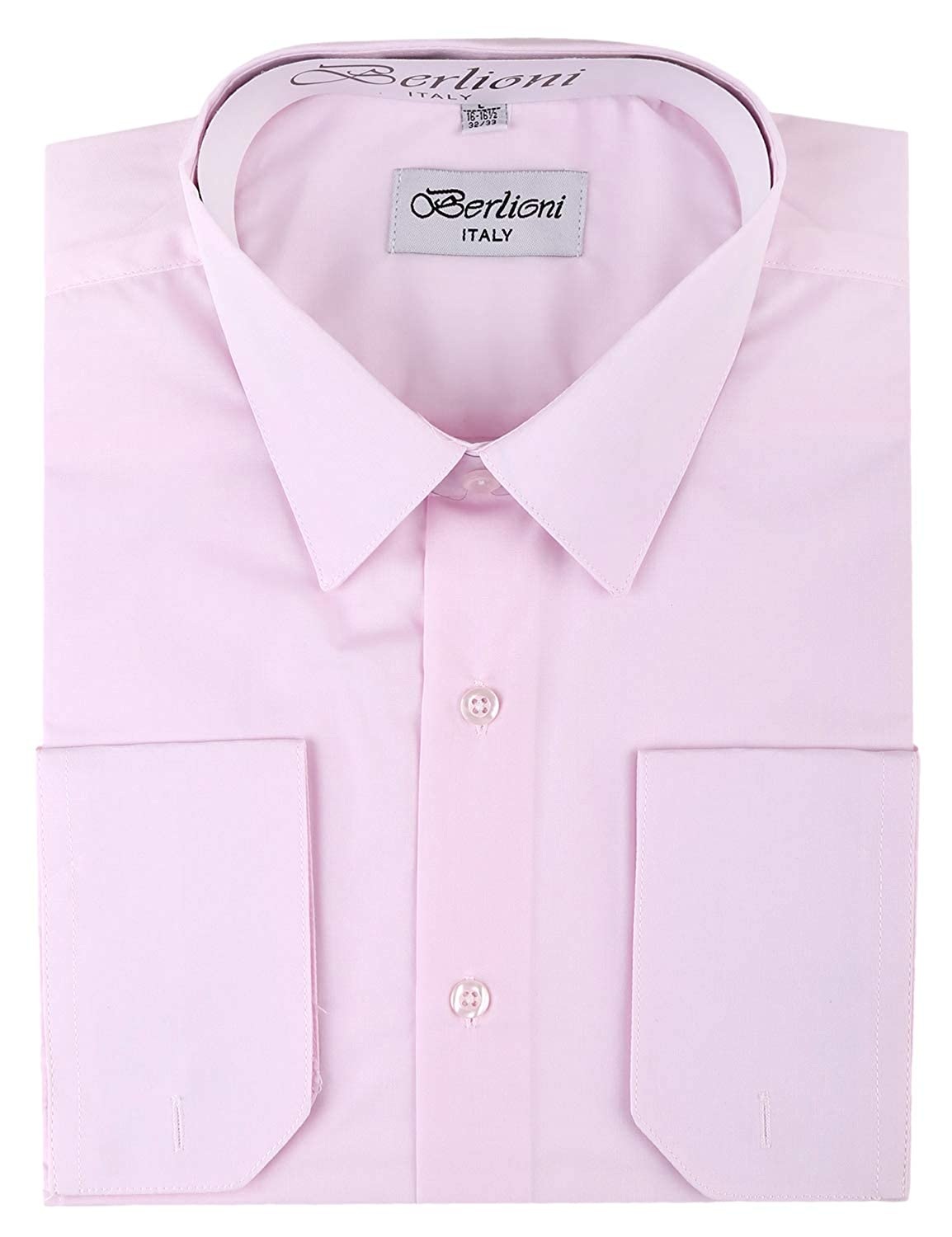Berlioni Mens Dress Shirt Convertible French Cuffs Huge Color