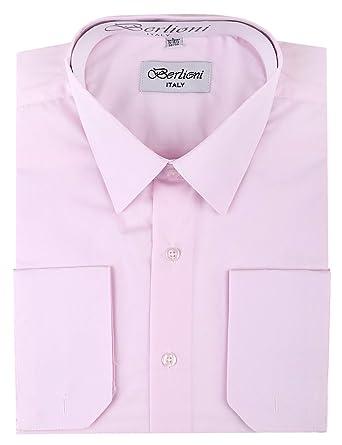 Berlioni - Camisa de Vestir para Hombre, puños franceses ...