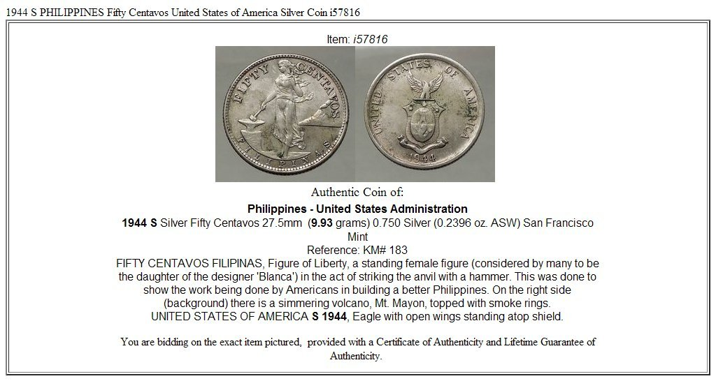 1944 Unknown 1944 S Philippines Fifty Centavos United States O Coin