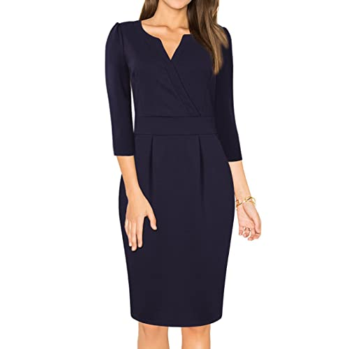 MISSKY Womens V-Neck Work Business Bodycon Pencil Dress