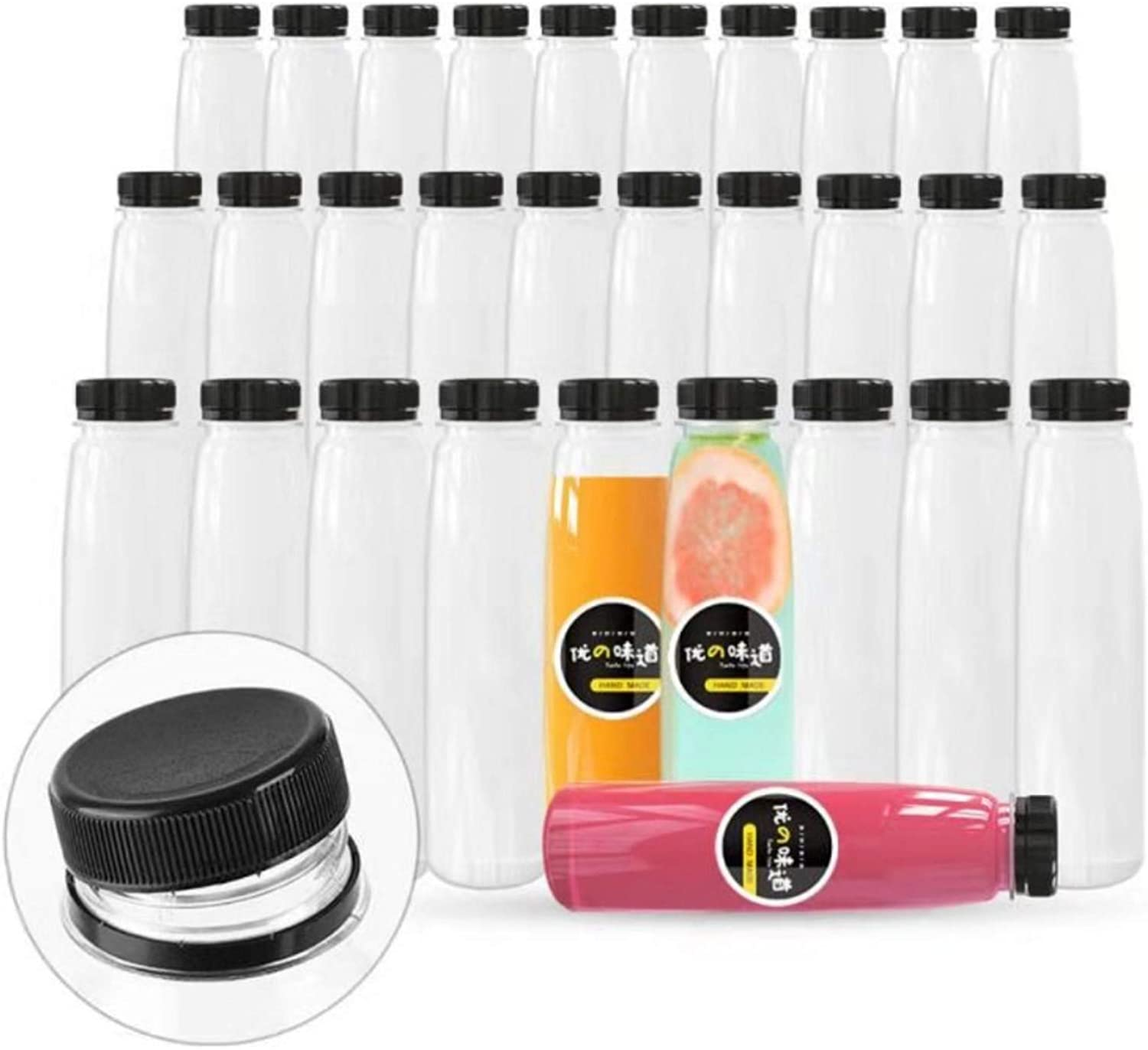 36 Pack Empty PET Plastic Juice Bottles 12 OZ Clear Disposable Bulk Drink Bottles with Black Tamper Evident Caps Lids (12 OZ, Black)