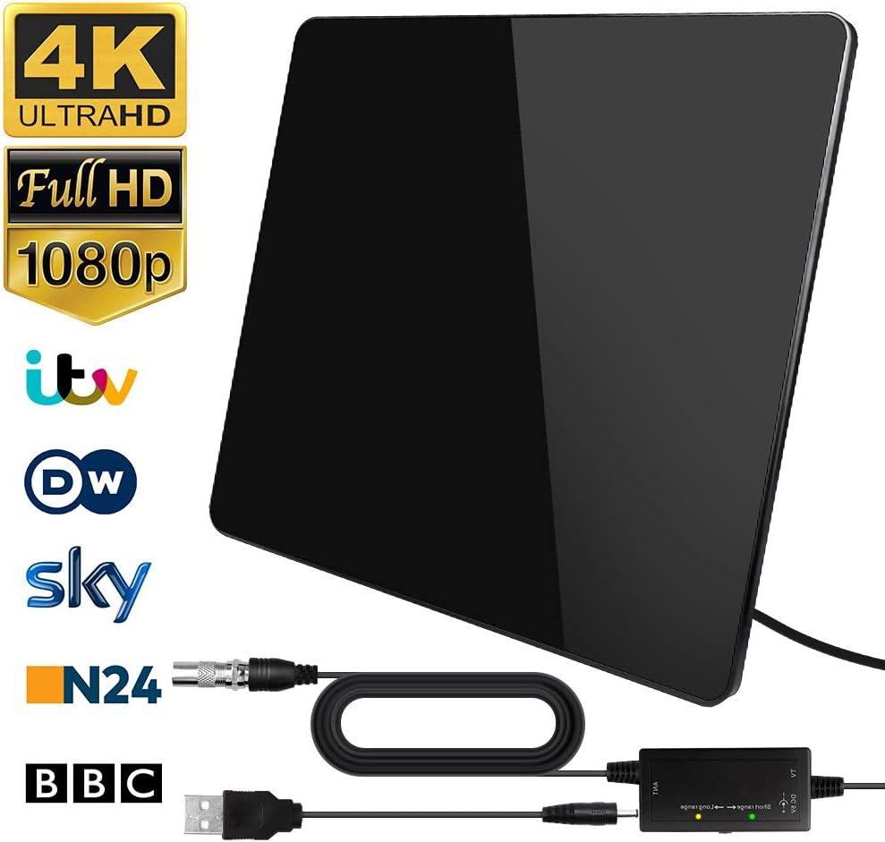 Antena de TV,Antena de TV Digital para Interiores de Alcance de 200KM con Amplificador Inteligente de Señal, Adecuada para Canales de TV Gratis 1080P 4K, Amplificador con Cable Coaxial de 5M