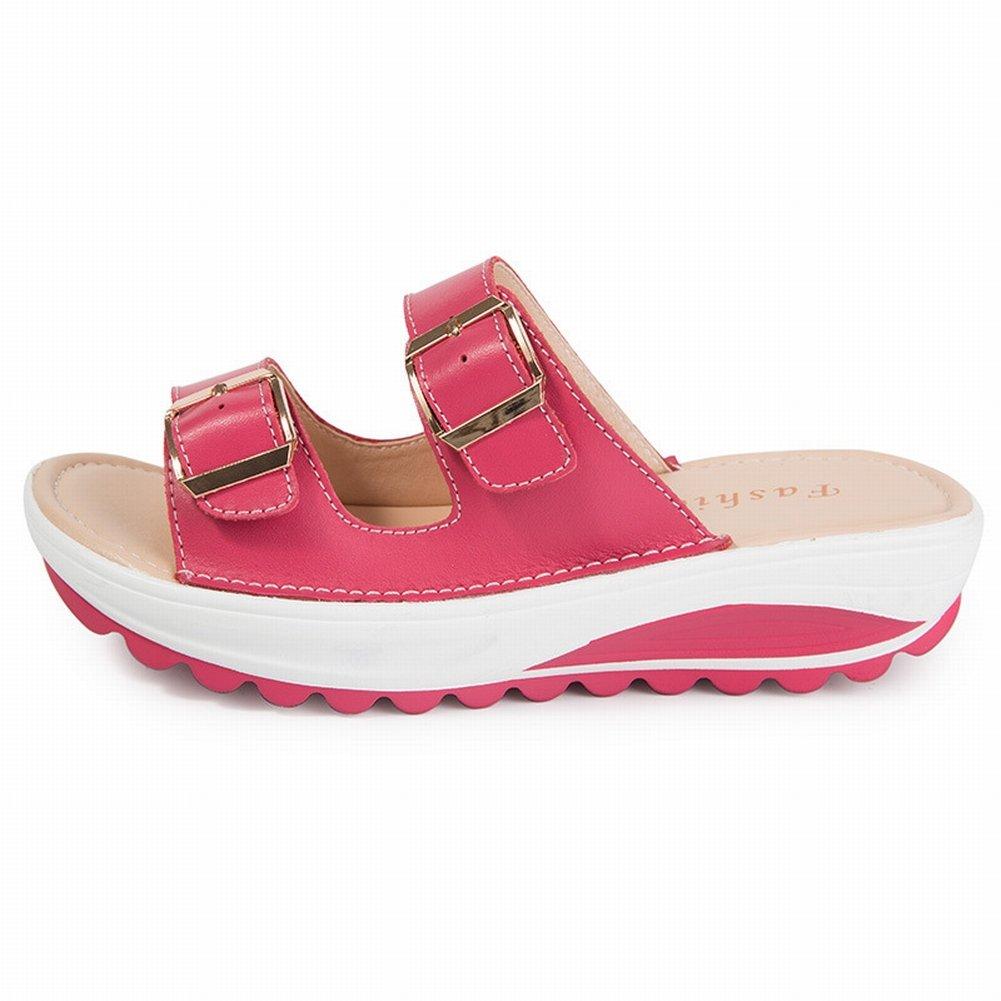 YTTY Female Sandalen Mode Sandalen Frauen Leder Hohe Frauen Sandalen  37 Pflaume