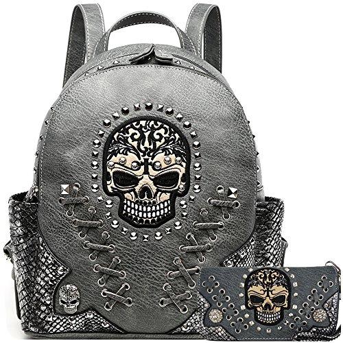 Sugar Skull Punk Art Rivet Stud Biker Purse Women Fashion Backpack Python Daypack Shoulder Bag Wallet Set (Grey Set)