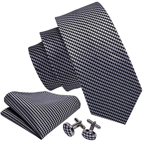 (Barry.Wang Black Grey Tie Set Hanky Cufflinks Necktie for Men Check Plaid)