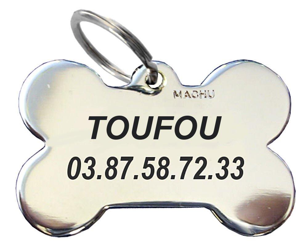 Machu - Médaille Chien MINII OS chromé 2,2 cm X1,5 cm - Convient à MINI CHIEN / TOY - Gravure profonde et soignée, colorée peinture noire. GRAVURE offerte.