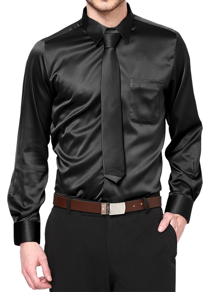 Daniel Ellissa Black Satin Dress Shirt with Neck Tie and Hanky Kids to Youth Sizes (Youth 12)