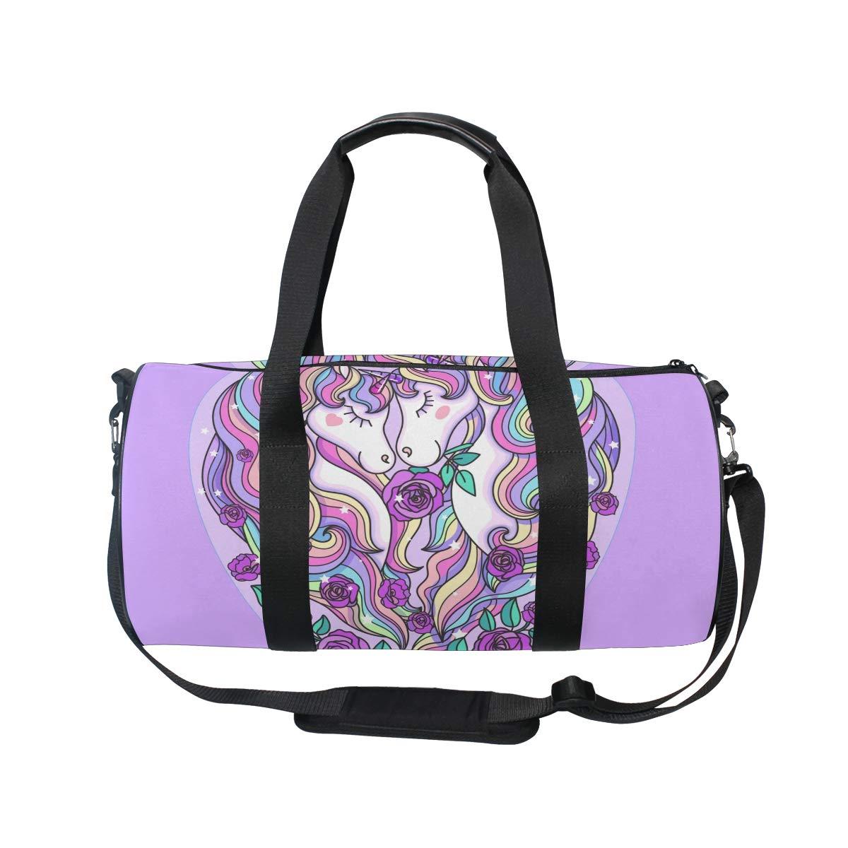 WIHVE Gym Duffel Bag Unicorns Mane Roses Heart Love Sports Lightweight Canvas Travel Luggage Bag