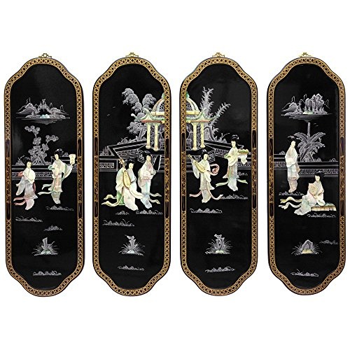 Oriental Furniture Eight Ladies Curved Wall Plaques (Wall Lacquer)