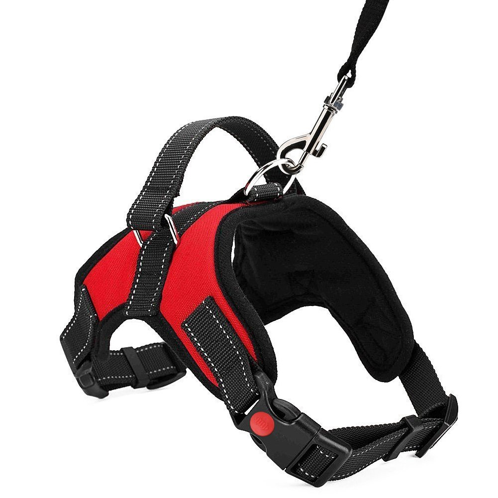 Dog Safety Car Vest Harness with Safety Buckle, Mulit-function Adjustable Vest Harness with Car Vehicle Safety Seat Belt, Double Breathable Mesh Fabric, Perfect for Dogs Travel Walking Trip (L, Red)