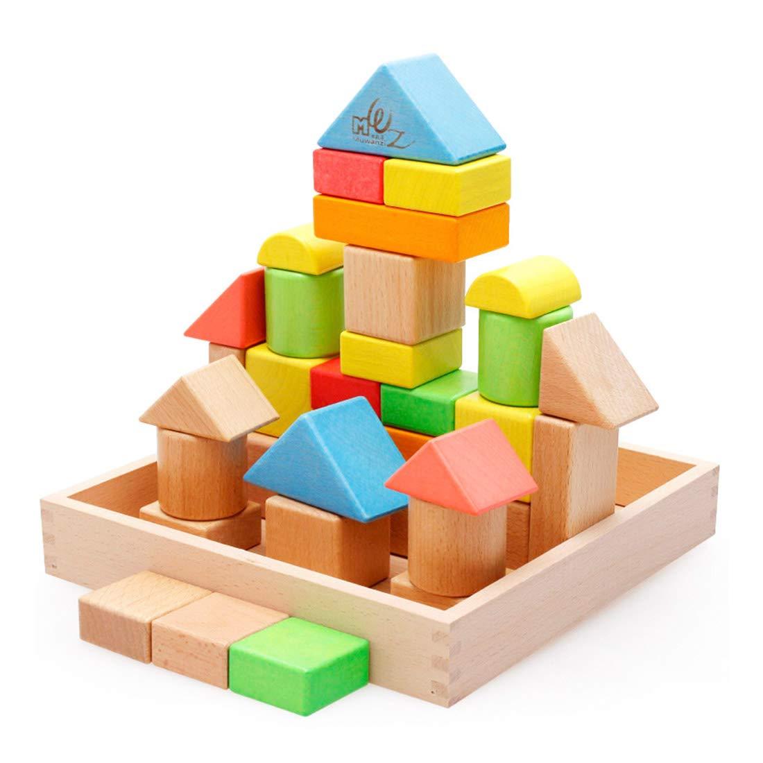 32ピース木製組み立てレンガ カラフルビルディングブロック 子供用教育玩具   B07HJ79TR1