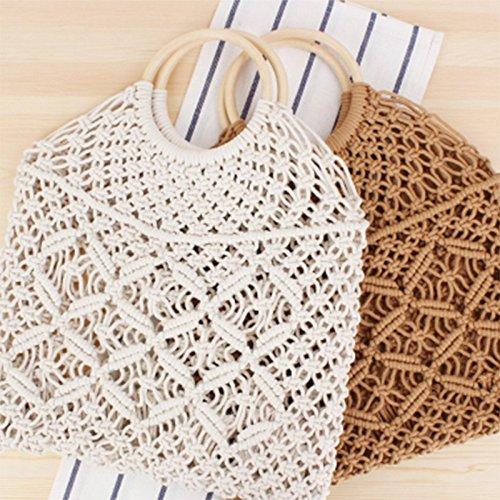 bianco Rete Rombi a A Tote Bianco And Spiaggia Intrecciata Chic b Donna Estiva Bag Outflower Di Borsa Paglia Per Fashion 1pcs Da w0UqC4