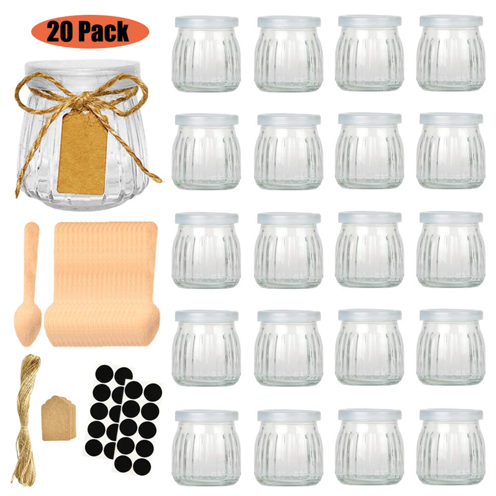 Folinstall 20 Pcs 4 oz Glass Jars with Lids - Yogurt Container - Yoghurt Jars for Jam, Spices, Gift Holder. Extra Chalkboard Labels, Tag Strings and 20 Disposable Wooden Spoons Included