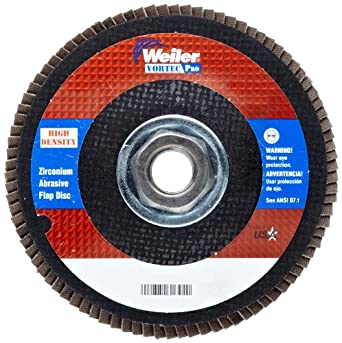 """Weiler Vortec Pro Abrasive Flap Disc, Type 27, Threaded Hole, Phenolic Backing, Zirconia Alumina, 4-1/2"""" Dia., 80 Grit (Pack of 1)"""