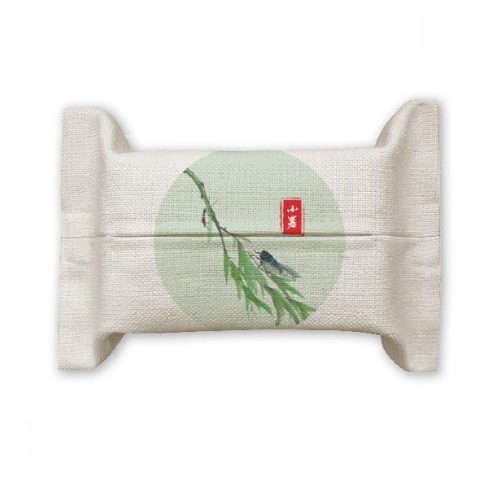 DIYthinker Circlar Slight Heat Twenty Four Solar Term Cotton Linen Tissue Paper Cover Holder Storage Container Gift