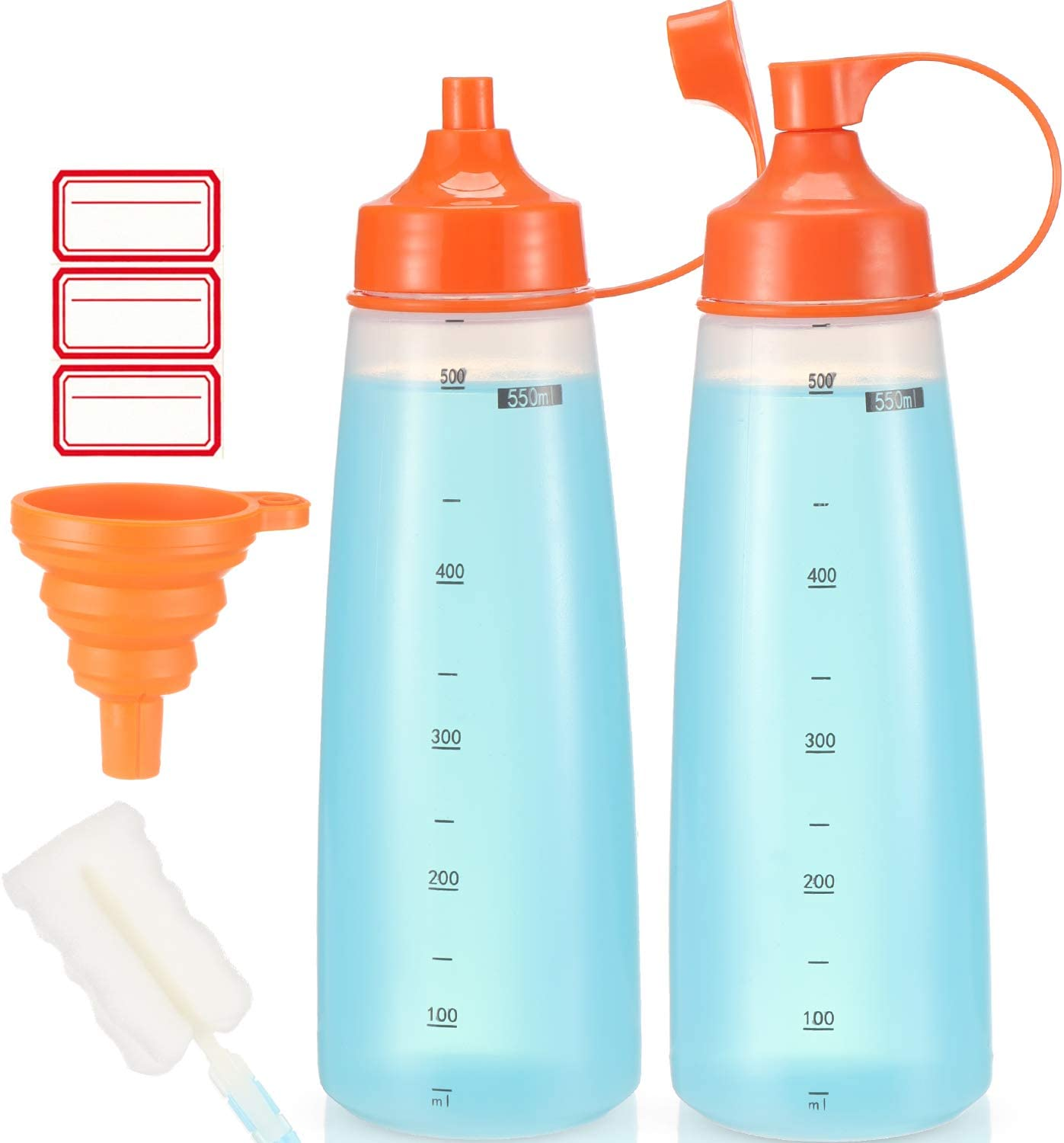 Condiment Squeeze Bottle Wide Mouth, Ondiomn 2 Pack 550ml Empty Reusable Squeeze Bottles for Honey,Batter,Catsup,Onion,Resin,Baking,Expoxy,Relish, BPA Free-Food Grade