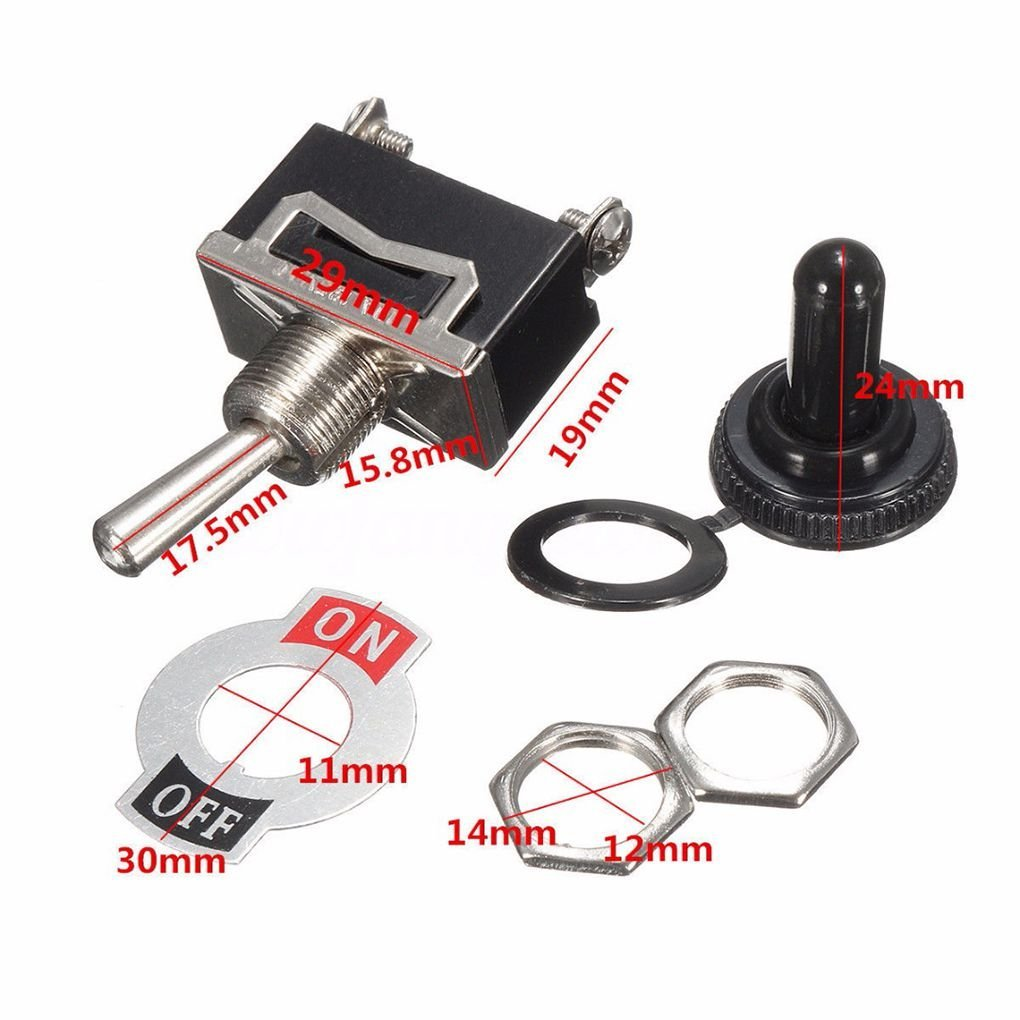 EgalBest 5pcs Heavy Duty Toggle Switch Waterproof Cover 12V ON//Off Car Dash Light 12 Volt SPST Metal Switch Set