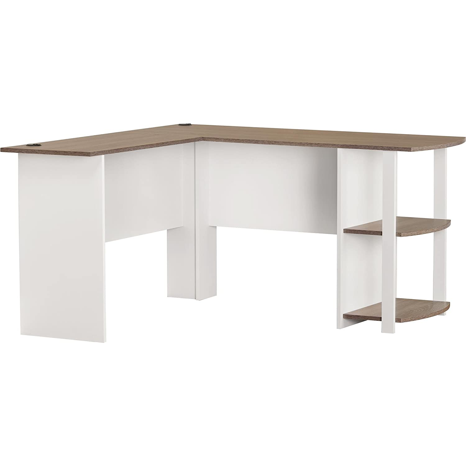 amazoncom ameriwood home dakota lshaped desk with bookshelves white sonoma oak kitchen u0026 dining