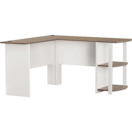 Ameriwood Home Dakota L Shaped Desk With Bookshelves White Sonoma Oak