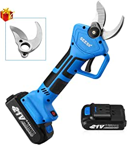 Seesii Cordless Electric Pruning Shears,2PCS Backup Rechargeable 2Ah Lithium Battery Powered Tree Branch Pruner,32mm (1.26 Inch) Cutting Diameter,with Replacement Strong Blade,6-7 Working Hours