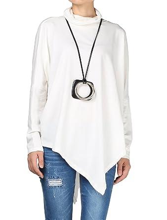 d1271f081927 Vogstyle Femme T-Shirt Basique Col Roulé sous Pull Tunique Asymétrique Tops  à Manche Longue
