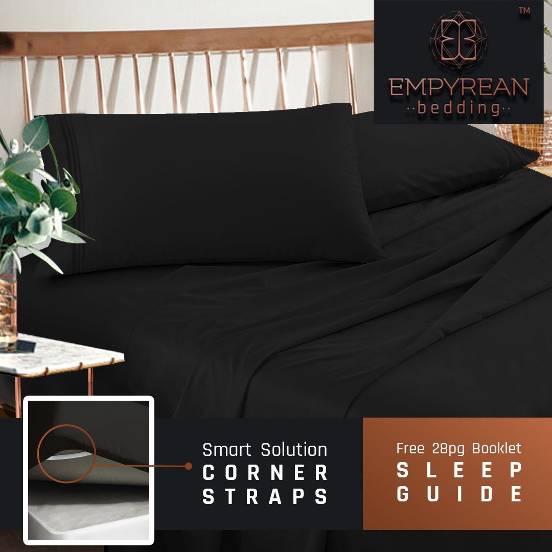 Premium Queen Size Bedding Sheets Set - Black Hotel Luxury 4-Piece Bed Set