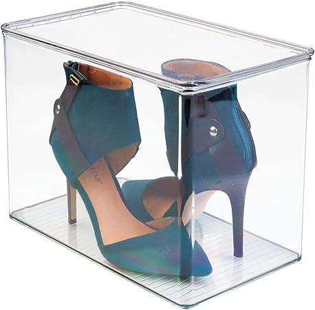 mDesign Organizador de zapatos para el armario o las estanterías – Cajas para guardar zapatos de tacón o botas – Cajas de zapatos transparentes: Amazon.es: Hogar