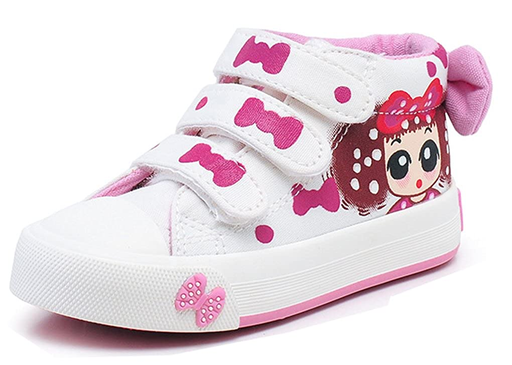B/éb/é//Petit Enfant//Grand Enfant VECJUNIA Fille D/écontract/é N/œud Cartoon Fermeture /à Scratch Chaussures Montantes en Toile Baskets