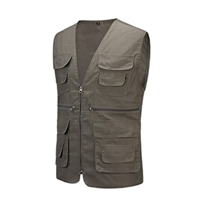 Geval Cotton Men's Multiple Pockets Photography Director Work Vest