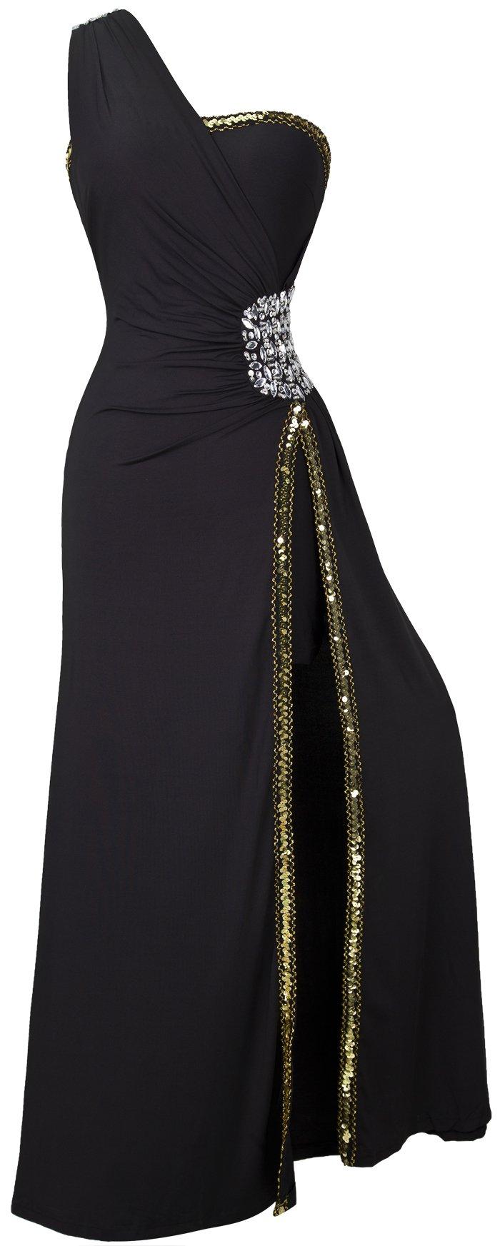 Angel-fashions Women's One Shoulder Split Pelumn Prom Evening Dress Large