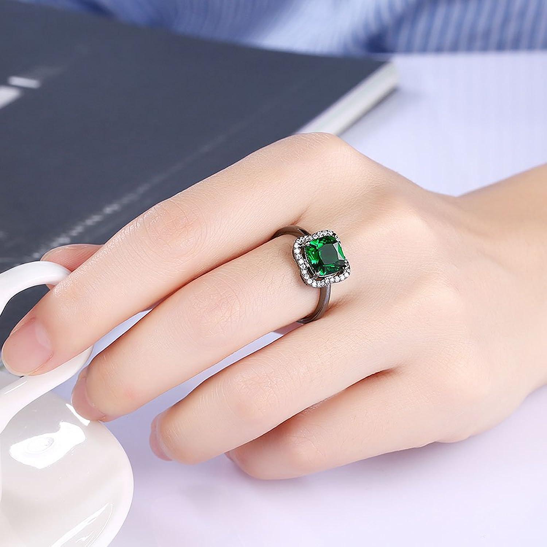 Amazon.com: XAHH Women Black Gold Emerald Green Round Square Cut CZ ...