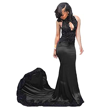 d7cf9eb41ff79 Fair Lady Sexy Black High Neck Mermaid Lace Prom Dresses Long Backless  Bridesmaid Dresses Evening Gowns