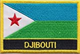 "Djibouti Flag Patch / Sew-On by Backwoods Barnaby (Djibouti Iron On w/ words, 2"" x 3"")"