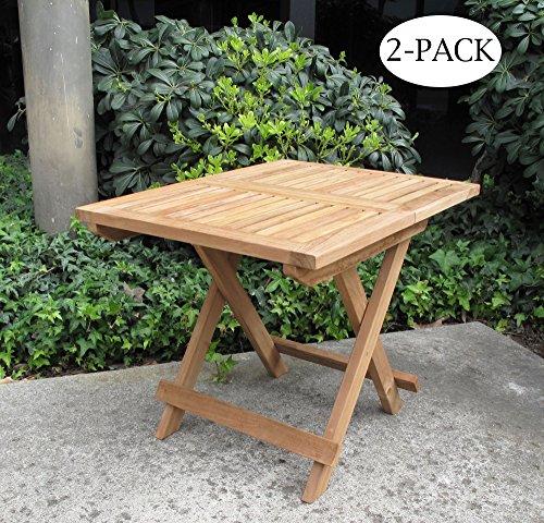 Urban Design Furnishings Folding Teak End Side Table 2-Pack (Teak Frame Plantation)