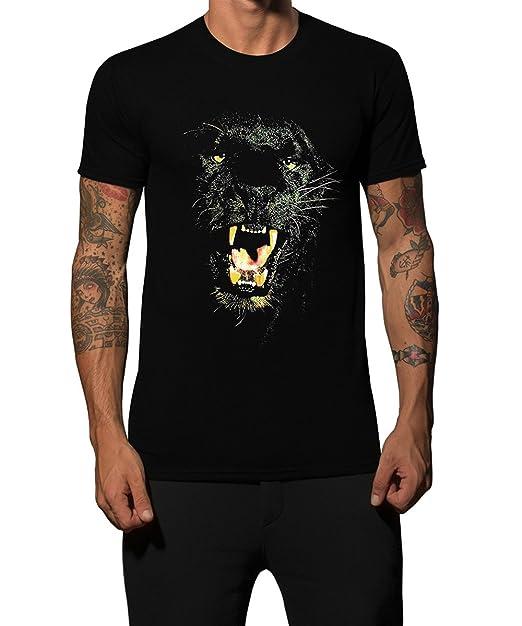 Iacobuccyounes – Camiseta Negro Pantera Animal Moda Diseño Algodón 100% Made in Italy Hombre Mujer