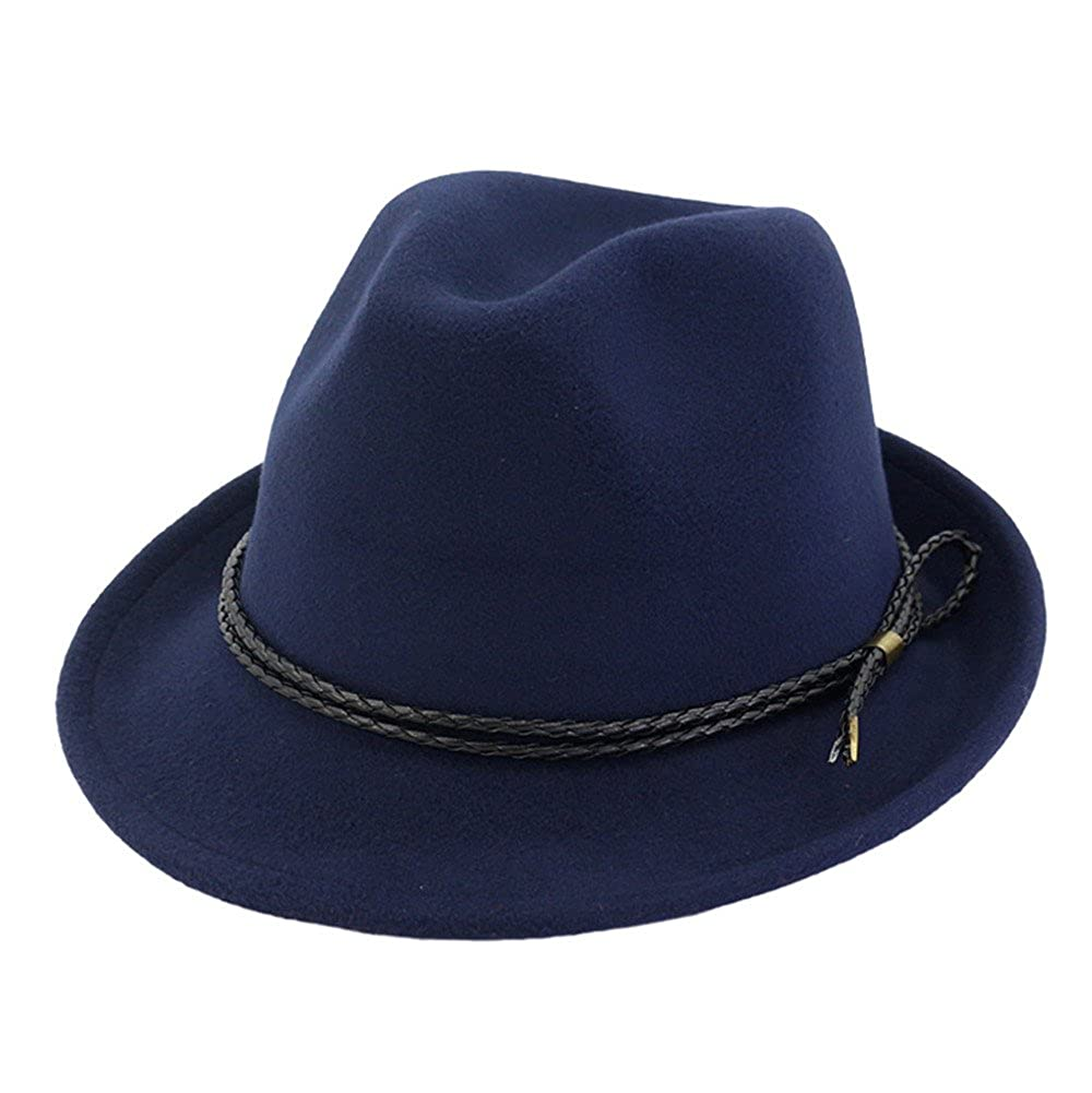 82bb7826773 Trilby Hat Felt Fedoras Hat Women Men Autumn Classic Plain Jazz Hat Curling  Hats DH1608B