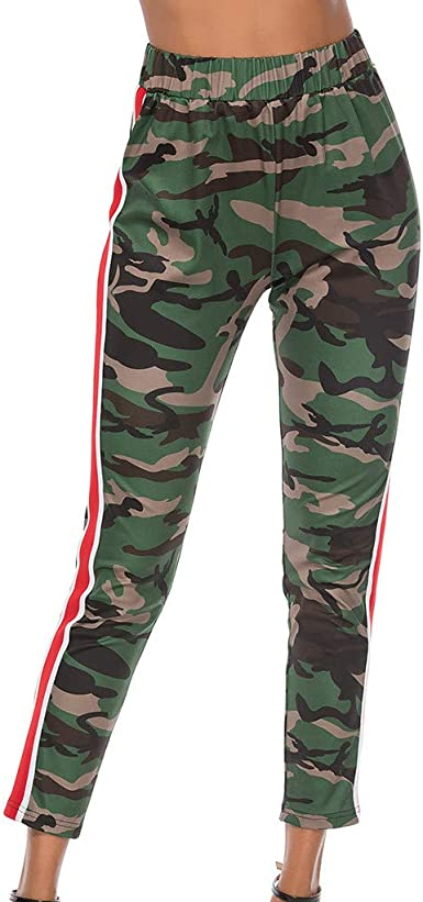 beautyjourney Pantalones Casuales de Camuflaje para Mujer con ...