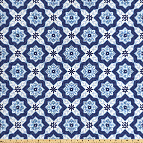 (Lunarable Ethnic Fabric by The Yard, Traditional Medieval Portuguese Azulejo Tiles Pattern with Stars, Decorative Fabric for Upholstery and Home Accents, 2 Yards, Dark Blue Pale Blue and White)