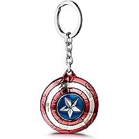 VNFLY Captain America Keychain, Shield Keychain, Captain America Spinning Shield Keychain Shield Keyring (Red, Rotative…