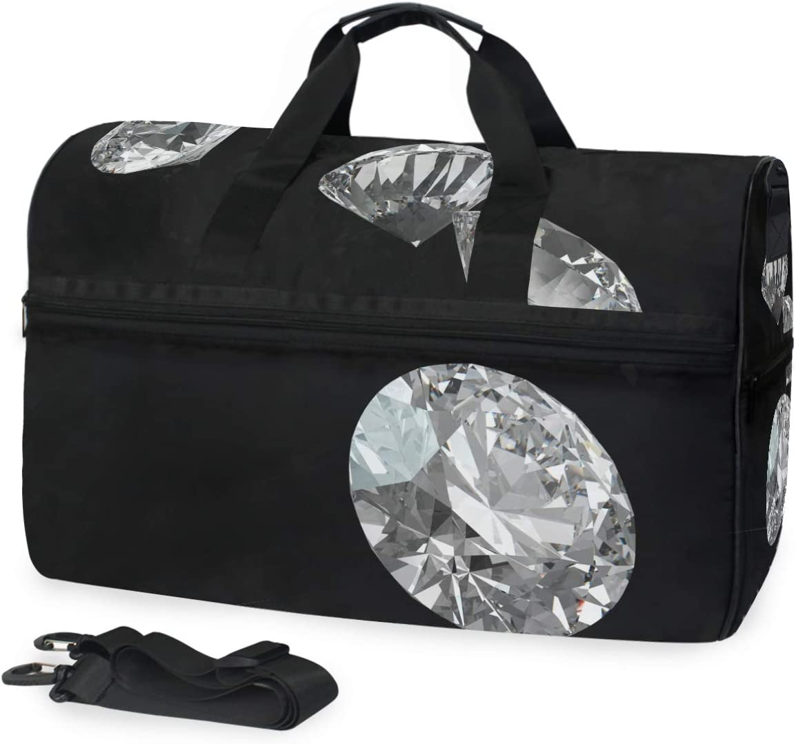 FAJRO Duffle Bag for Women Men Shinning Diamond Travel Duffel Bag Large Size Water-proof Tear Resistant