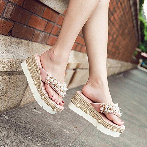 CN38 colores Tamaño de Remaches Altura Moda del 5 Fondo exterior UK5 Hembra 7cm verano grueso moda talón 2 zapato Zapatos zapatillas Negro Color perla 240 EU38 Ropa Pink LIXIONG CUaqFBwz