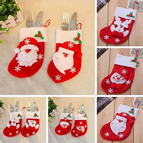 Bluelover 6Pcs Calza della Befana da Tavola di Natale Posate Coltello Forchetta Holder Cena Decor Prezzi