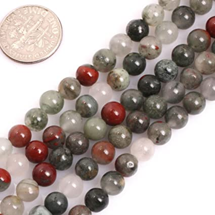 GEM-Inside Natural Africa Bloodstone Gemstone Loose Beads 6mm Round Crystal  Energy Stone Healing Power Beads for Jewelry Making 15