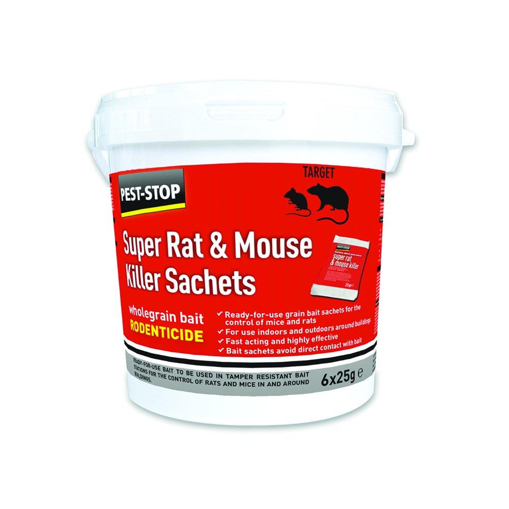 Pest-Stop Super Rat and Mouse Killer Sachets, Red, (h) x 118 (w) x 125 (d) mm Pelgar PSSA05